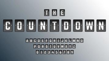 conjunto de modelo de fonte do alfabeto de contagem regressiva vetor