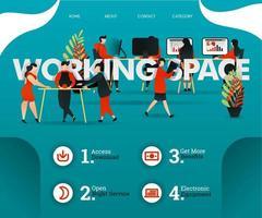 pessoas criativas estão compartilhando o quarto no espaço de trabalho. as pessoas estão desenvolvendo negócios. pode usar para, página de destino, web, aplicativo móvel, pôster, folheto, ilustração vetorial, promoção online, marketing na internet vetor