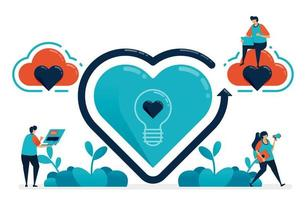 símbolo de ideias de amor e dia dos namorados. à procura de inspiração no romântico e no romance. para cima e para baixo no relacionamento conjugal. ilustração de proposta de casamento de site, banner, cartaz, convite, cartão vetor