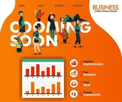 em breve escrevendo com ilustração laranja e plana. pode usar para, página de destino, modelo, interface do usuário, web, aplicativo móvel, cartaz, banner, folheto, ilustração vetorial, promoção online, marketing na internet vetor