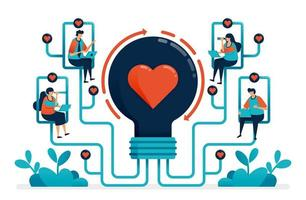 inteligência artificial para combinar parceiro e relacionamento. ideias para casamenteiro. ideias para amor, casamento, noivado. lâmpada com coração. ilustração de site, banner, cartaz, convite, cartão vetor