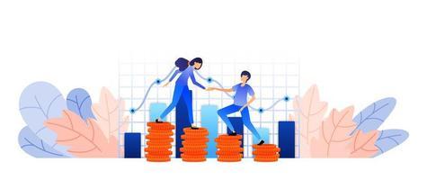 transformar ativos de investimento de dinheiro em lucro. monitorar a gestão contábil da empresa com diagramas e carrinhos. conceito de ilustração vetorial para página de destino, web, interface do usuário, banner, folheto, cartaz, modelo vetor