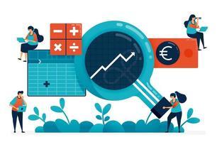 software de contabilidade com business intelligence ou bi em análise, plano, estratégia. ideias de software de inteligência artificial para planejar o crescimento dos negócios. ilustração de site, banner, software, pôster vetor