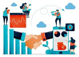 colaboração para obter retorno sobre o lucro e as oportunidades. gráfico e diagrama de barras. gráfico financeiro móvel. análise de negócio. ilustração humana plana vetorial para página de destino, site, celular, pôster vetor