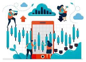 pesquisar e analisar dados estatísticos para escolher o investimento. plataforma móvel para financiamento e financiamento. gráfico e diagrama. ilustração humana plana vetorial para página de destino, site, celular, cartaz, anúncios vetor