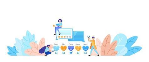 dê curtidas, avaliações, emoticons e feedback. inclua depoimentos para obter melhores serviços e danos. conceito de ilustração vetorial para página de destino, web, interface do usuário, banner, panfleto, cartaz, modelo, plano de fundo vetor