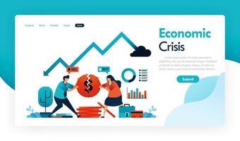 crise econômica com queda do PIB e aumento da inflação, estratégia financeira e sistema bancário em recessão, moedas quebradas, gráfico de análise financeira, gráfico de estatísticas. desenho vetorial para aplicativos móveis de cartaz de folheto