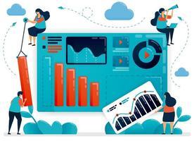 trabalho em equipe para construir um portfólio de negócios. gráfico e diagrama para analisar a estratégia. estatística de crescimento da empresa. desenvolvimento de inicialização. ilustração humana plana vetorial para página de destino, site, celular, pôster vetor