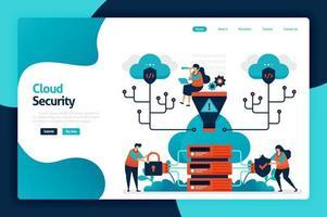 design de página de destino de segurança em nuvem. proteger e proteger o acesso ao banco de dados. segurança e proteção de dados pessoais, hacker e crimes cibernéticos. ilustração vetorial para cartaz, site, folheto, aplicativo móvel vetor