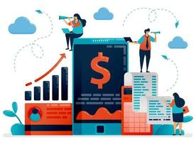dispositivo móvel de verificação de negócios e investimentos. aplicativos de contabilidade e software para melhorar o desempenho da empresa. ilustração em vetor personagem plana para página de destino, web, banner, aplicativos móveis, cartaz, anúncios