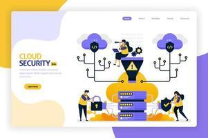 design de página de destino de segurança em nuvem. proteger e proteger o acesso ao banco de dados. segurança e proteção de dados pessoais, hacker e crimes cibernéticos. ilustração vetorial para cartaz, site, folheto, aplicativo móvel