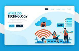 página de destino e site para conexão e proteção wi-fi, acesso à internet com wi-fi, firewall de segurança wi-fi com senha, segurança de acesso e conexão. vetor design flyer pôster anúncios de aplicativos para celular
