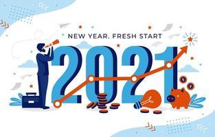 Objetivo de carreira para 2021 no ano novo vetor