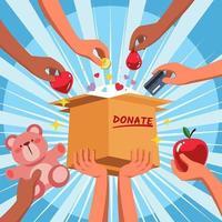 conceito de doação e caridade vetor