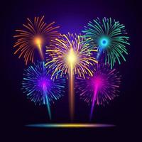 5 variantes de cores de fogos de artifício vetor