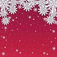 fundo de flocos de neve com corte de papel vetor