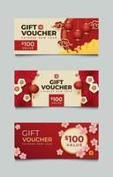 conjunto de voucher de presente de ano novo chinês vetor