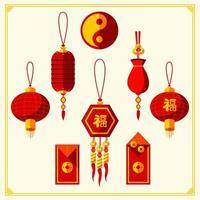 ornamento vermelho e dourado do ano novo chinês vetor