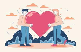 um casal abraça o coração vetor