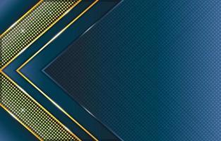composição do padrão de pontos e triângulo de ouro azul gradiente vetor