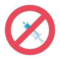 medicamento de vacina por injeção com símbolo negado vetor