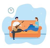 jovem casal tocando violão e comendo vetor