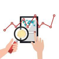 variação do mercado de ações por covid 19 com smartphone e ícones vetor