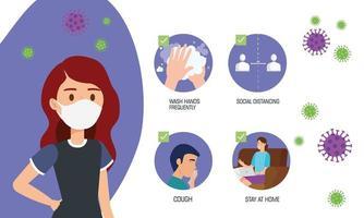 mulher usando máscara facial para pandemia covid19 vetor