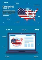 bandeira e mapa dos EUA com covid19 no laptop vetor