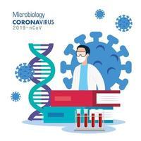 microbiologia para covid 19 com médico e ícones médicos