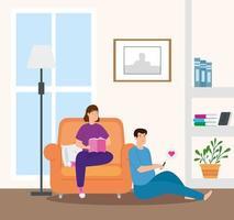 jovem casal lendo livro na sala de estar vetor