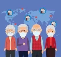 idosos usando máscara facial para covid19 e mapa terrestre vetor