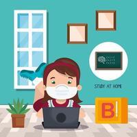campanha fique em casa com menina estudando online