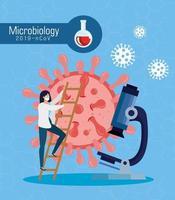 microbiologia para covid 19 com doutora e microscópio vetor