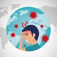 planeta Terra com covid19 partículas e homem doente dor de cabeça vetor