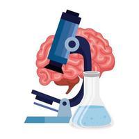 microscópio com ícone isolado de cérebro humano vetor