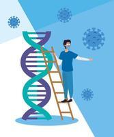 paramédico e estrutura de DNA com partículas covid 19 vetor