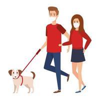jovem casal usando máscara facial andando com cachorro vetor