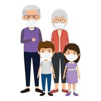 avós com netos usando máscara facial vetor