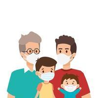 pais gays com filhos usando máscara facial vetor