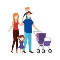 pais com filhos usando máscara facial com carrinho de bebê vetor