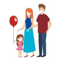 pais com filha usando máscara facial vetor