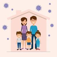 ficar em casa campanha com pais e filhos vetor