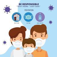 campanha para ficar em casa com família usando máscara facial vetor