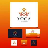 cartão de visita de ioga e modelo de design de ícone vetor
