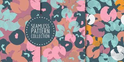 conjunto de padrão floral sem costura vetor