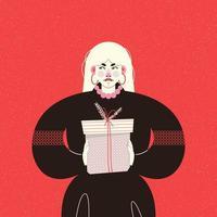 cartão vermelho com menina loira com um presente vetor