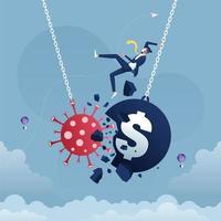 pandemia e surto de gripe de coronavírus ou covid-19 afetam o comércio de moeda em dólar e o conceito de economia-negócios e recessão financeira vetor