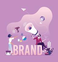 campanha de conscientização da marca - conceito de marca e marketing de negócios vetor
