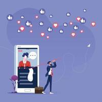 empresário perseguindo o polegar para cima e o ícone de coração - conceito de marketing de mídia social vetor